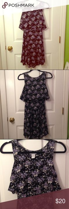 Sleeveless Floral Open Back Dress NWOT beautiful black Delia's dress with lavender and white flower pattern. Dress has an open back and elastic band around the back waist to keep it in place. Barely worn, in great condition!! NO Trades NO PayPal Delia's Dresses Mini