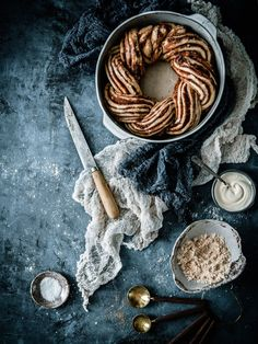 ... cinnamon babka ring with rum-mascarpone glaze ...