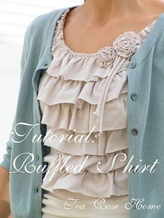 Sachiko , the talent of Tea Rose Home has a beautiful ruffle shirt tutorial here . In fact, she has several different ruffle shirt tutori. Sewing Tutorials, Sewing Crafts, Sewing Projects, Sewing Patterns, Recycling Projects, Clothes Patterns, Craft Patterns, Sewing Ideas, Shirt Patterns