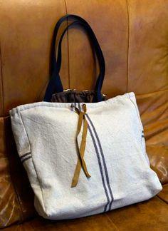 Grand sac coton, doublé laine, bandoulières et lanière cuir