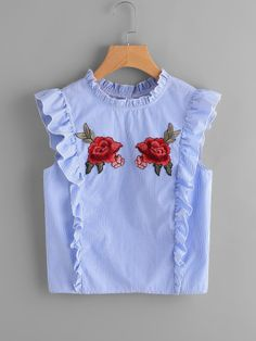 Shop Embroidered Rose Patch Ruffle Detail Button Back Blouse online. SheIn offers Embroidered Rose Patch Ruffle Detail Button Back Blouse & more to fit your fashionable needs. Toddler Girl Dresses, Little Girl Dresses, Girls Dresses, Frock Design, Stylish Dress Designs, Stylish Dresses, Kids Dress Wear, Baby Girl Dress Patterns, Baby Frocks Designs