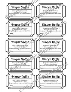 Free Printable Raffle Ticket Template Download Printable Diaper Raffle Tickets  Chalkboard Baby Shower Game .