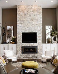 Easiest & most cost effective- stacked stone tile gives this look Fireplace Tv Wall, Family Room Fireplace, Fireplace Remodel, Fireplace Design, Black Brick Fireplace, Living Room Tv, Living Room Remodel, Interior Design Living Room, Living Room Designs