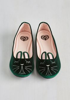 Furry Up, We're Dreaming Flat in Emerald Velvet, #ModCloth