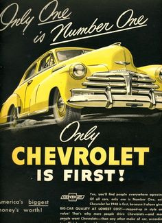 It's time for another edition of Throwback Thursday! Today we've uncovered this classic vintage Chevrolet advertisement. Can you guess what year it's from? Vintage Advertisements, Vintage Ads, Vintage Posters, Chevrolet Bel Air, Vintage Metal Signs, Car Posters, Car Advertising, Us Cars, Van