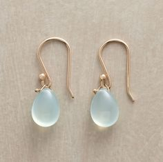 "Each picture-of-perfection Peruvian chalcedony is like a simple kiss. Anne Sportun originals handmade with 14kt gold French wires. 7/8""L."