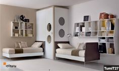 beige modern shared bedroom 23 Shared Bedroom Styles: From Novel Trends to Fancy Ideas Small Shared Bedroom, Shared Bedrooms, Girls Bedroom, Bedroom Decor, Bedroom Ideas, Bedroom Arrangement, Shelves In Bedroom, Bedroom Styles, Modern Bedroom