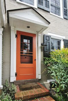 Orange doors and windows (just repaint the brown existing metal cladding Front Door Paint Colors, Painted Front Doors, Paint Colors For Home, House Paint Exterior, Exterior House Colors, Exterior Doors, Orange Brick Houses, Orange Front Doors, Front Door Makeover