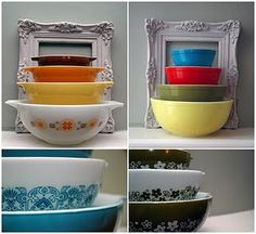Love the frame with the pretty pyrex...makes their beauty even more of a work of art :)
