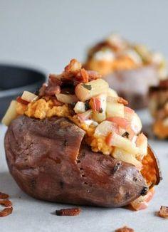 Apple Bacon Stuffed Sweet Potatoes I howsweeteats.com