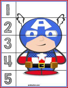 Superheroes Line Puzzles Super Hero Activities, Autism Activities, Kindergarten Activities, Counting Puzzles, Number Puzzles, Preschool Curriculum, Preschool Learning, Superhero Preschool, Stories For Kids