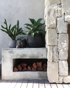 A few of my favourite things. Natural stone, concrete dado, succulents, cactus & an outdoor fireplace.'d in install by styling by my fab client (Old jars found in the earth during construction. Outdoor Stone, Outdoor Fire, Outdoor Areas, Outdoor Living, Rustic Outdoor, Outdoor Seating, Outdoor Pool, Cool Fire Pits, Balkon Design