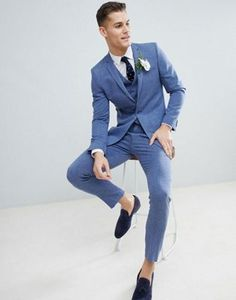 ASOS DESIGN Wedding Skinny Suit In Provence Blue Cross Hatch Costume  Cravate 9fabb163048