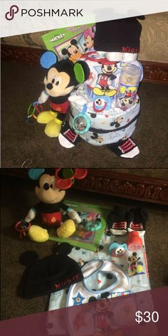 Mickey Mouse diaper cake Stuff Mickey rattle clip on toy Mickey book Mickey pacifier Booties n beanie hat Mickey  Mickey bib Mickey bottle Mickey blanket  Diapers Other