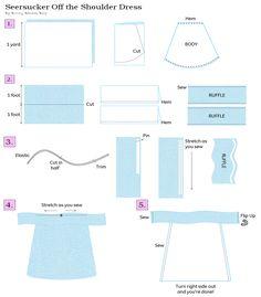 Seersucker Off the Shoulder Dress Tutorial by Bunny Baubles