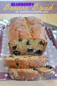Blueberry Banana Bread - banana bread with lots of juicy blueberries http://www.insidebrucrewlife.com