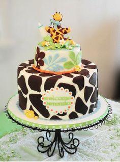 Giraffe baby shower cake for boy by adgal715, via Flickr
