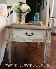 Shabby Chic Two Toned End Table