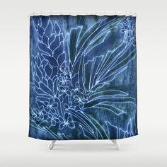 Pretty+Dungarees+Shower+Curtain+by+Vikki+Salmela+-+$68.00 #indigo #batik #tropical #floral #palm #Indonesian #Hawaiian #art #decor #accessory for #home #apartment #gift #hotel #bathroom #shower #curtain from #Society6