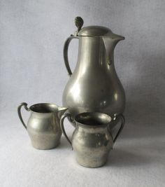 Pewter Pitcher Creamer and Sugar Vintage by HobbitHouse on Etsy