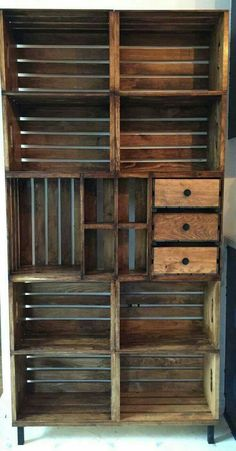 diy project craft crate or pallet open pantry shelving shelf, maybe bookcase. perfect for extra storage in a modern rustic kitchen.