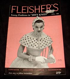 Vintage 1956 Fleishers Young Fashions in Jiffy Knits Vol. 98 - womens knitting patterns for Cardigans, Sweaters, Hoods and Accessories. Booklet