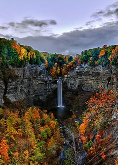 Taughannock Falls at Ithaca, NY - This stunning falls spans from top to bottom, making it even taller than Niagara Falls. The quick, paved, ten minute walk to the base of the falls makes this sight easily accessible to all. Beautiful Waterfalls, Beautiful Landscapes, Places To Travel, Places To See, Camping Places, Belleza Natural, Travel Usa, Fun Travel, Nature Pictures