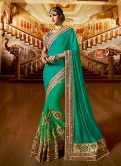 Buy Green Georgette N Crepe Jacquard Half N Half Saree online from the wide collection of half-n-half-saree.  This Green colored half-n-half-saree in Faux Crepe | Faux Georgette fabric goes well with any occasion. Shop online Designer half-n-half-saree from cbazaar at the lowest price.