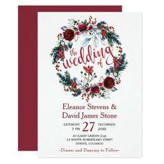 #Simple winter burgundy floral wreath wedding card - #rustic #wedding #marriage #bridal #weddingideas