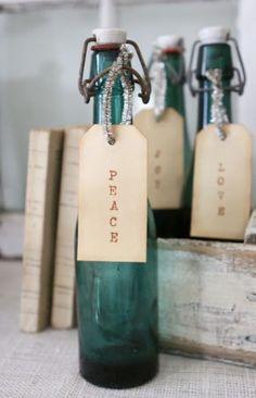 mooie flessen met labels