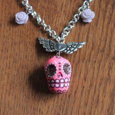 Ketting Dia de los Muertos roze skull hart met door MissFrauque