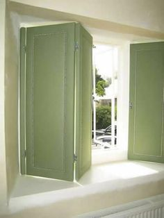 About Fabric Covered Shutters Diy Interior Window Shutters, Indoor Shutters, Green Shutters, Diy Shutters, Chalet Interior, Farmhouse Interior, George House, Country Cottage Interiors, Farmhouse Window Treatments