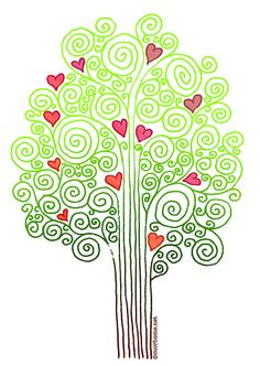 heart tree- a simplified b/w version of this maybe?