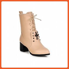 Carolbar Women's Lace up Fashion Studded Cross Shaped Decorations Charms Mid Heel Short Boots (6.5, Beige) - Boots for women (*Amazon Partner-Link)