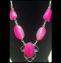 NEW - GORGEOUS PINK BOTSWANA AGATE SILVER PLATED NECKLACE #Handmade #Pendant