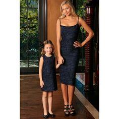 Navy Animal Print Fancy Evening Trendy Designer Mommy and Me Dresses