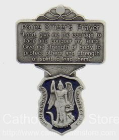 St. Michael Police Officer Prayer Visor Clip with Blue Enamel : AU1035 #catholicfaithstore