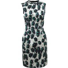 LANVIN Sleeveless Beetle Slim Dress ($2,910) ❤ liked on Polyvore featuring dresses, green, slimming dresses, slim fitting dresses, slim fit dress, green sleeveless dress and sleeveless dress