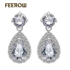 Elegant Women Party Ronde Champagne Cristal Saphir Or Dangle Boucles d/'oreilles pendantes