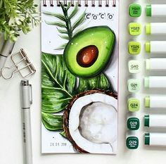 Fruit studies in guashe - A Level Art Sketchbook - Marker Kunst, Copic Marker Art, Copic Art, Copic Kunst, Arte Copic, Food Drawing, Painting & Drawing, Drawing Hair, Drawing Drawing