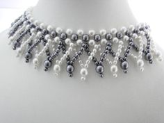 Items similar to Vintage Two Tone Faux Pearls Choker Necklace on Etsy Pearl Choker Necklace, Diy Jewelry Necklace, Bead Jewellery, Beaded Earrings, Fashion Necklace, Beaded Jewelry, Beaded Bracelet Patterns, Beading Patterns, Costume Necklaces