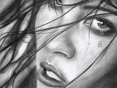 The Girl with Tears, Beautiful Girl Drawings for Inspiration, http://hative.com/girl-pencil-drawings/,