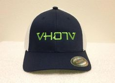 "Flexfit: Navy/White Trucker with large Fluorescent Green logo - Flexfit Mesh Cotton Twill (55% Polyester / 43% Cotton / 2% Spandex) Two-Tone Trucker style hats. 6-panel, low-profile with hard buckram and silver under-visor. Patented stretchable polyester mesh spandex on side and back, with comfort-fit design. One size fits all (6 7/8"" - 7 1/2"")."