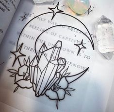 gorgeous moon and crystals. would be a nice tattoo