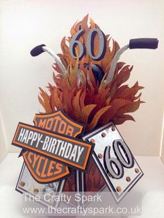 The Crafty Spark: Harley Davidson Birthday Card 60th Birthday Cards, Masculine Birthday Cards, Handmade Birthday Cards, Masculine Cards, Card In A Box, Pop Up Box Cards, 3d Cards, Card Boxes, Easel Cards