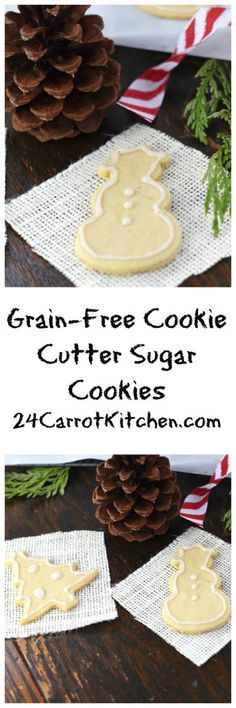 Grain-Free Cookie Cutter Sugar Cookies - gluten free dairy free and vegan! Paleo Dessert, Paleo Sweets, Gluten Free Desserts, Dairy Free Recipes, Healthier Desserts, Fodmap Recipes, Vegan Desserts, Paleo Recipes, Delicious Recipes