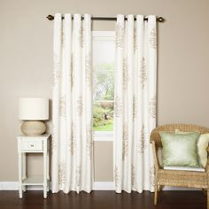 Tree Embroidery Grommet Top Curtain Panel Pair - Overstock™ Shopping - Great Deals on Curtains