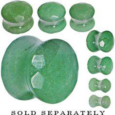 "1/2"" Green Aventurine Semi Precious Stone Faceted Double Flare Plug | Body Candy Body Jewelry"