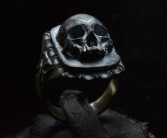 Skull ring Signet silver mens skull biker masonic by Bakogiorgis