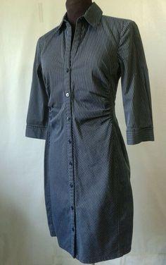 SZ 4 SHIRT Dress EXPRESS DESIGN STUDIO  BLACK WHITE PINSTRIPE BUTTON FRONT  #EXPRESSDESIGNSTUDIO #ShirtDress #CasualOffice